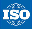"A blue rectangle with a white line drawing of a sphere inside divided longitudinally and latitudinally and emblazoned with the letters ""ISO"" in white"