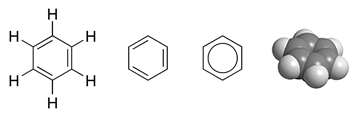 A molecule of benzene has a ring of six carbon and six hydrogen atoms.