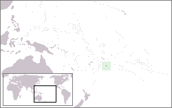The location of Niue in the West Pacific