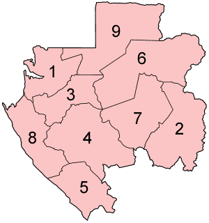 A clickable map of Gabon exhibiting its nine provinces.
