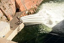 View from above of a high water release into the Colorado River.