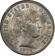 1914 Barber Dime NGC MS64plus Obverse.png