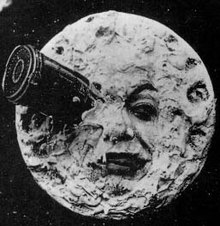 Georges Méliès Le Voyage dans la Lune, showing a projectile in the man in the moon's eye from 1902