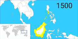 The extent of the Bruneian Empire in the 16th century