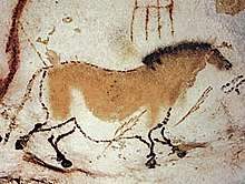 Lascaux cave paintings: a horse from Dordogne facing right brown on white background