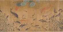 painting of many swimming fish, mostly in shades of tan