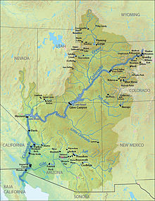 A map of the Colorado River Basin, with the locations of major dams indicated.