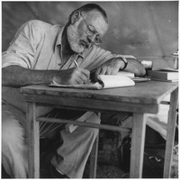 Ernest Hemingway Writing at Campsite in Kenya - NARA - 192655.tif