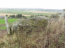 View over the recumbent of Hill of Fiddes Stone Circle - geograph.org.uk - 929287.jpg