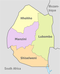 A clickable map of Eswatini exhibiting its four districts.