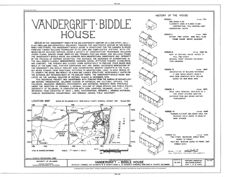 File:Vandergrift-Biddle House, Junction of US Route 13 and County Road 2, Saint Georges Hundred, Biddles Corner, New Castle County, DE HABS DEL,2-BIDCO,1- (sheet 1 of 8).png