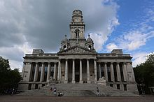 A front facing view of the Portsmouth Guildhall and the surrounding Civic Offices.