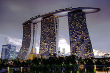 Marina Bay Sands is an integrated resort opened in 2010, one of the world's most photographed buildings