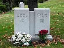 "Twin gravestone bearing the names ""Frank O'Connor"" and ""Ayn Rand O'Connor"""