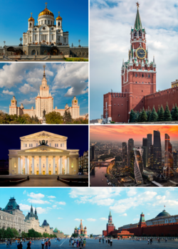 Clockwise from top right: Spasskaya Tower of the Moscow Kremlin; MIBC; Red Square, Saint Basil's Cathedral; the Bolshoi Theatre; the main building of MSU; and the Cathedral of Christ the Saviour