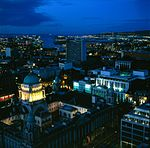 Aerial view of Belfast at dusk