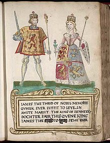 "A picture on a page in an old book. A man at left wears tights and a tunic with a lion rampant design and holds a sword and sceptre. A woman at right wears a dress with an heraldic design bordered with ermine and carries a thistle in one hand and a sceptre in the other. They stand on a green surface over a legend in Scots that begins ""James the Thrid of Nobil Memorie..."" (sic) and notes that he ""marrit the King of Denmark's dochter."""