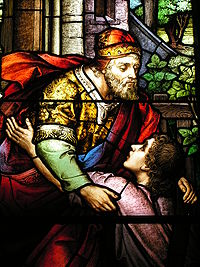 Stained glass window based on the Parable of the Prodigal Son in Charleston, South Carolina