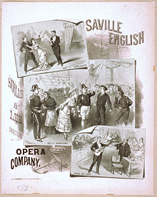 Poster showing scenes from all three operas featuring principal characters; the productions, by an American opera company around 1879, seem lavish. Black and white.