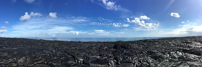 Panorama of lava and ocean