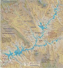 A map showing Lake Powell and the Glen Canyon National Recreation Area