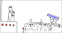 "A cartoon of a political rally, with someone in the crowd holding up a banner reading ""[Citation needed]"""