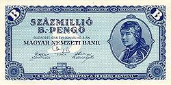 1020 Hungarian pengo banknote issued in 1946