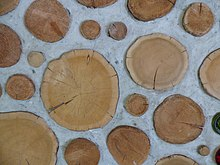 "Cordwood masonry wall detail. This alternative building method is called ""cordwood masonry"", ""cordwood construction"" or ""stackwall"" because the wall resembles a stack of cordwood. Source: Rob Roy, Earthwood Building School. http://www.cordwoodmasonry.com"