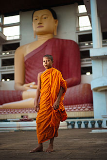 A young monk in saffron robes standing in Sri Lanka temple