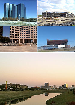 Clockwise from top left: Urban Towers at Las Colinas, the former Texas Stadium, Irving Convention Center at Las Colinas, Downtown Las Colinas Skyline, The Mustangs at Las Colinas