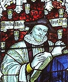 Hakluyt depicted in stained glass in the west window of the south transept of Bristol Cathedral – Charles Eamer Kempe, c. 1905.