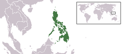 Location of the Philippines in Southeast Asia.