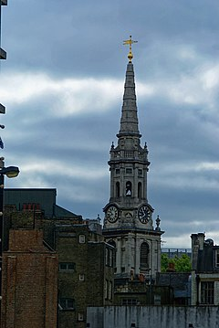 London - Oxford Street - View SE on St Giles-in-the-Fields 1734.jpg