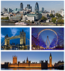 "Üstten : ""Londra Şehri (City of London)"" panoraması; ""Kule Köprüsü (Tower Bridge)""; ""Londra Gözü Dönmedolabı (London Eye)"" ve Parlamento Binası"