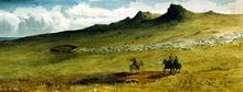 Three men in horseback examine a pastoral settlement