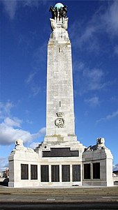 The Naval War Memorial in Southsea, which consists of a large stone pillar and a plaque at the bottom which commemorates the fallen soldiers of the Second World War.