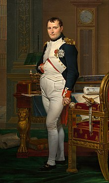 painting of Napoleon in 1806 standing with hand in vest attended by staff and Imperial guard regiment