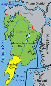 Mumbai is on a narrow peninsula on the southwest of Salsette Island, which lies between the Arabian Sea to the west, Thane Creek to the east, and Vasai Creek to the north. Mumbai's suburban district occupies most of the island. Navi Mumbai is east of Thane Creek, and the Thane District is north of Vasai Creek.