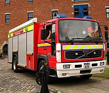 A fire engine of the Greater Manchester Fire and Rescue Service.