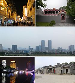 From top down, left to right: Sunwen West Road; Former residence of Dr. Sun Yat-sen; Dongqu Subdistrict; Shiqi River (石岐河); Chen ancestral shrine in Chadong Village (茶东陈氏宗祠)