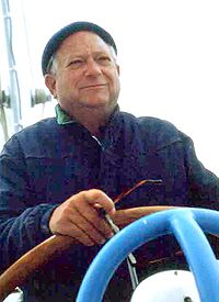 Jack Vance at the helm of his boat on San Francisco Bay in the early 1980s