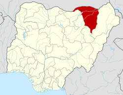 Location of Yobe State in Nigeria
