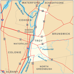 Map of Troy and its major thoroughfares