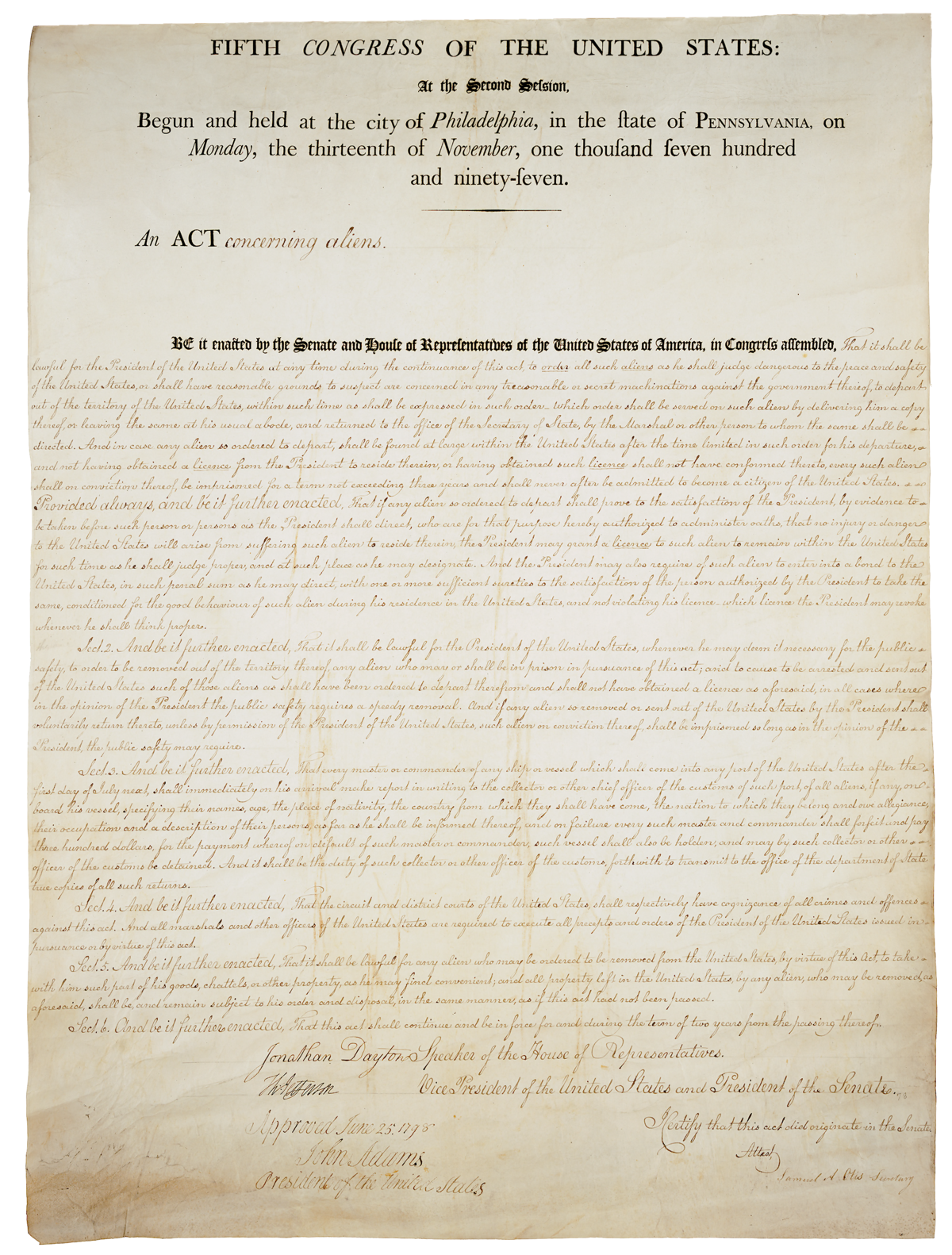the controversial effects of the alien and sedition acts in the united states