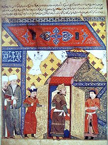 Painting of a stylized building, showing Ghazan kneeling and accepting conversion