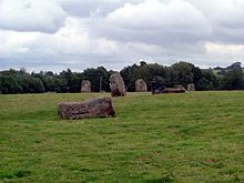 Large stones, some lying and some standing on end in grassy area.