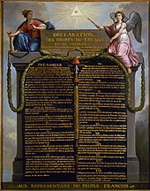 color drawing of the Declaration of the Rights of Man and of the Citizen from 1789