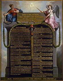 "Picture of a painting; the painting is of a written declaration; there are two human images to the left and right; it says ""Declaration des droits de l'homme"" (declaration of the rights of man)"