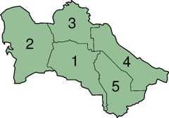 A clickable map of Turkmenistan exhibiting its provinces.