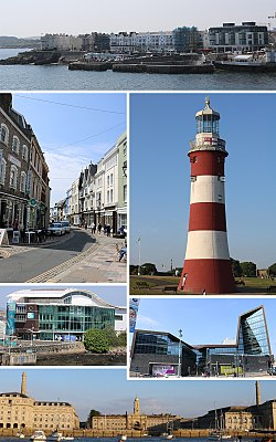 Clockwise from top: West Hoe, Smeaton's Tower, University of Plymouth, Royal William Yard, National Marine Aquarium, Southside St, Barbican